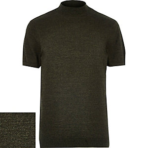 Green stand neck textured short sleeve jumper