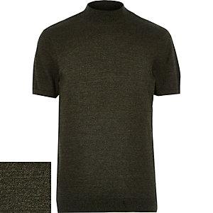 Green stand neck textured short sleeve jumper