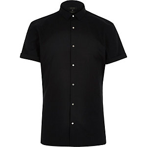 Black slim popper front shirt