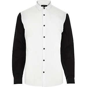 White smart contrasting black sleeve shirt