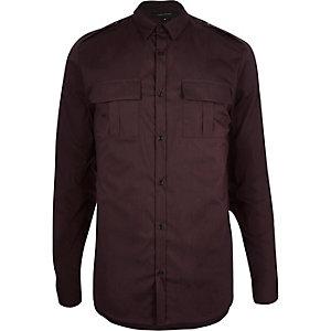 Red skinny stretch military shirt