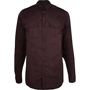 Oxblood red slim stretch military shirt