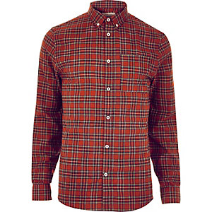 Dark red check flannel shirt