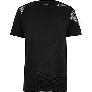Black mesh panel t-shirt