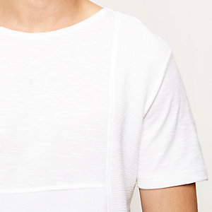 White texture block panel t-shirt