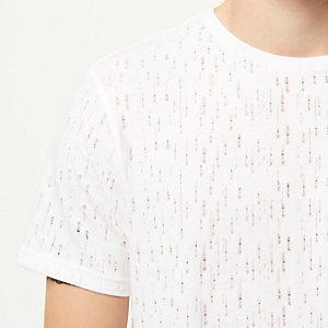 White pattern short sleeve t-shirt