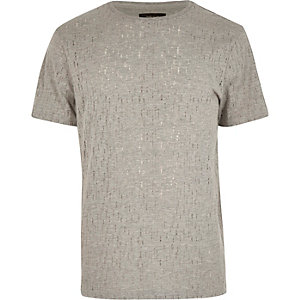 Grey pattern short sleeve t-shirt