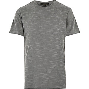 Grey texture wide neck t-shirt