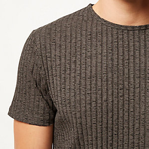 Brown chunky ribbed t-shirt