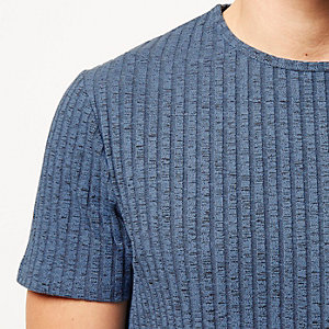 Blue chunky ribbed t-shirt
