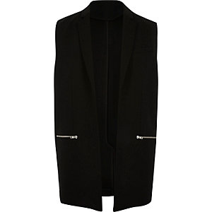 Black smart sleeveless blazer