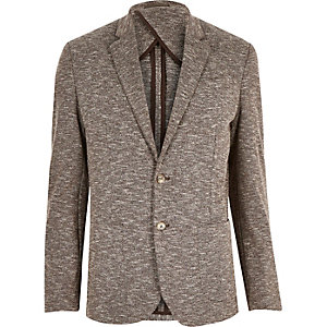 Brown jersey slim blazer