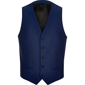 Bright blue suit vest