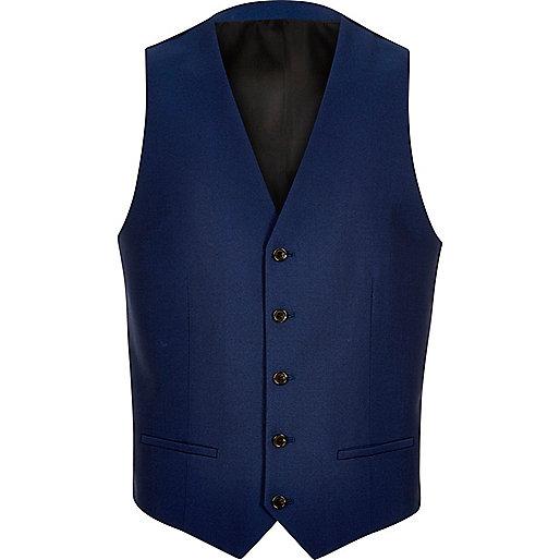 Bright blue suit vest