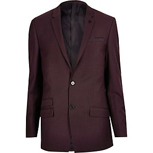 Dark red skinny suit jacket