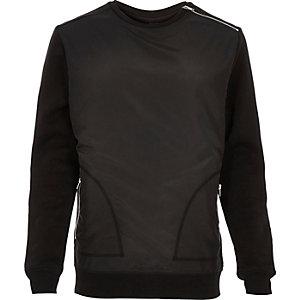 Black contrast front minimal sweatshirt