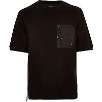 Black short sleeve zip front sweatshirt