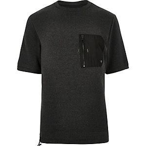 Grey short sleeve zip front sweatshirt