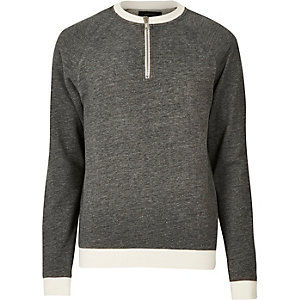 Grey zip neck sweatshirt