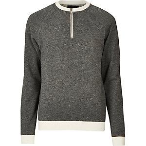 Grey zip neck sweatshirt