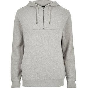 Grey marl zip neck hoodie