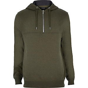 Dark green zip neck hoodie