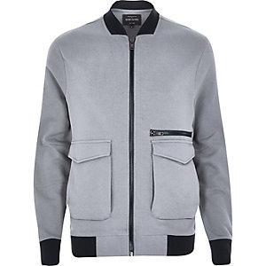 Blue contrast trim bomber jacket
