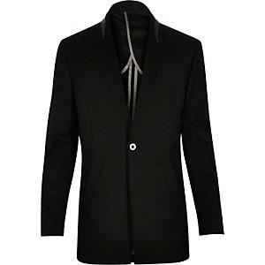 Black reverse lapel longline blazer