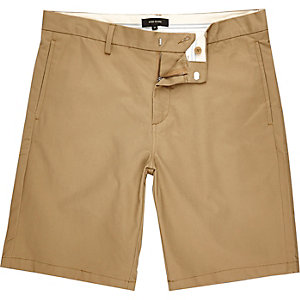 Brown slim chino shorts