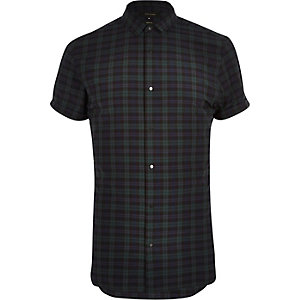 Green checked short sleeve shirt