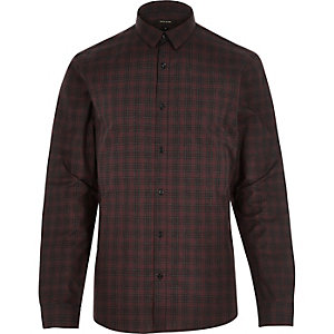 Dark red check slim shirt