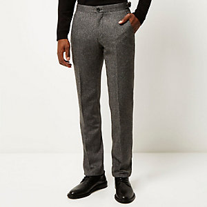 Grey Vito wool-blend slim trousers