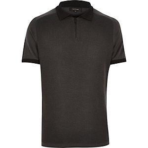 Dark grey zip neck polo shirt
