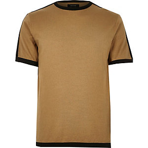 Camel brown knitted short sleeve sweater