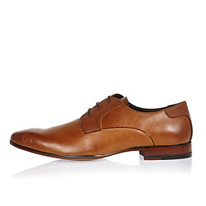 Brown smart leather textured panel shoes