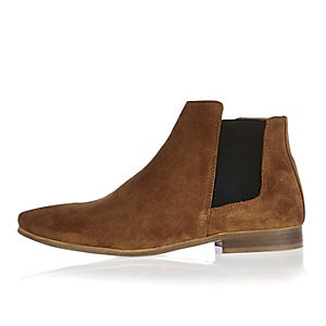 Brown suede smart Chelsea boots