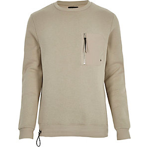 Stone long sleeve zip front sweatshirt