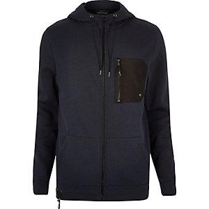 Navy zip pocket hoodie