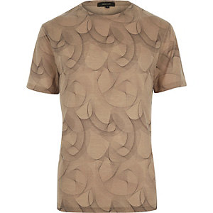 Brown spirograph print t-shirt