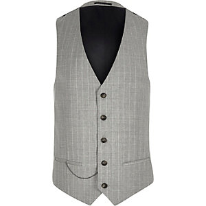 Grey stripe wool-blend suit vest