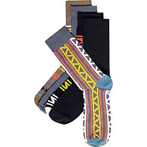 Mixed geometric print socks pack