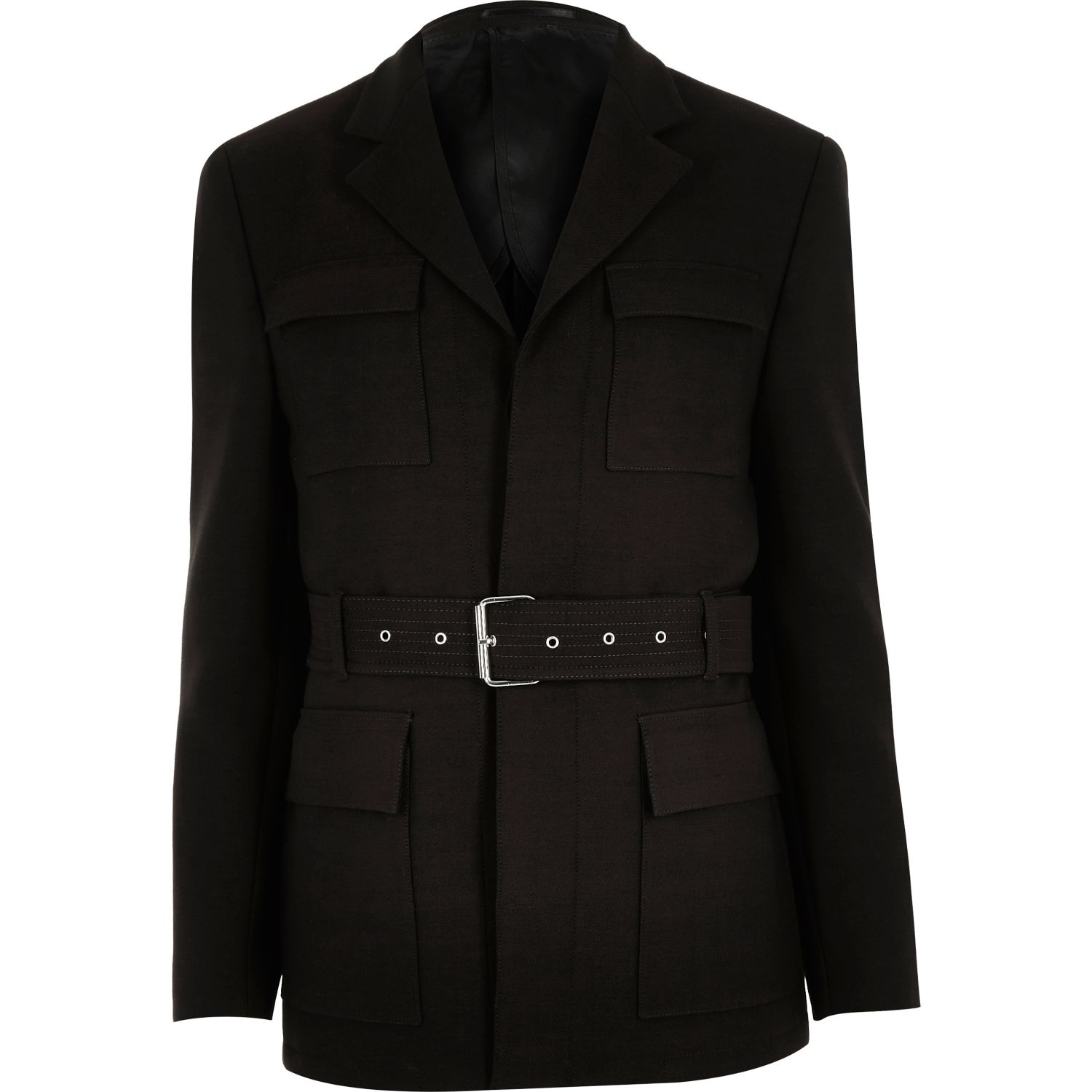 Dark brown slim belted jacket
