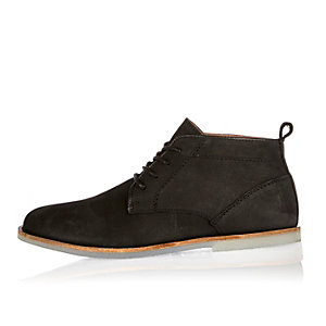 Black nubuck leather lace-up boots