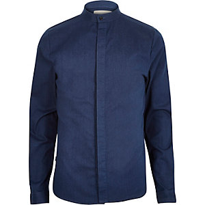 Blue RVLT denim grandad shirt