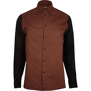 Brown RVLT contrast sleeve shirt