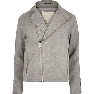 Grey RVLT wool-blend biker jacket