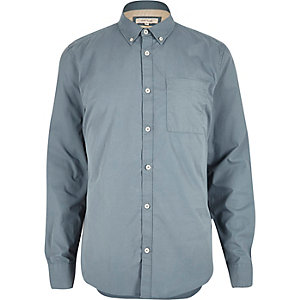 Blue twill long sleeve shirt