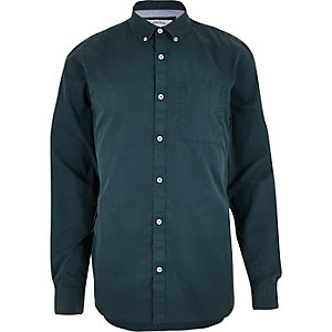 Teal twill long sleeve shirt