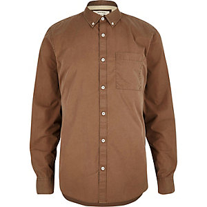 Brown twill long sleeve shirt
