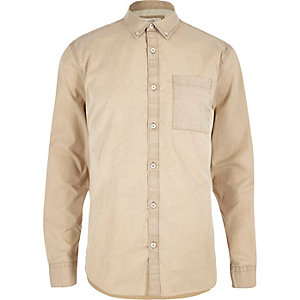 beige twill long sleeve shirt